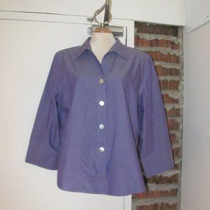 Foxcroft Blouse Top Buttons Purple 3/4 Sleeves 18